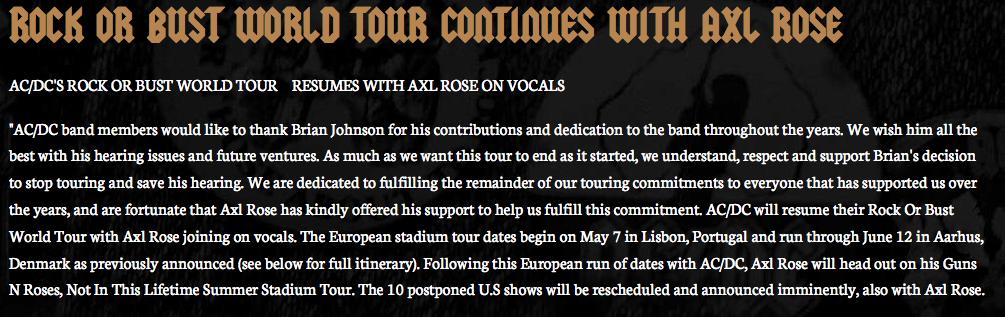 Le post d'AC/DC sur son site internet est daté du 16 avril 2016.