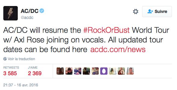 TWEET AC/DC ON AXL ROSE