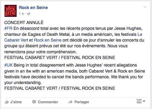Rock en Seine a annoncé sa décision ce vendredi après-midi sur les réseaux sociaux.