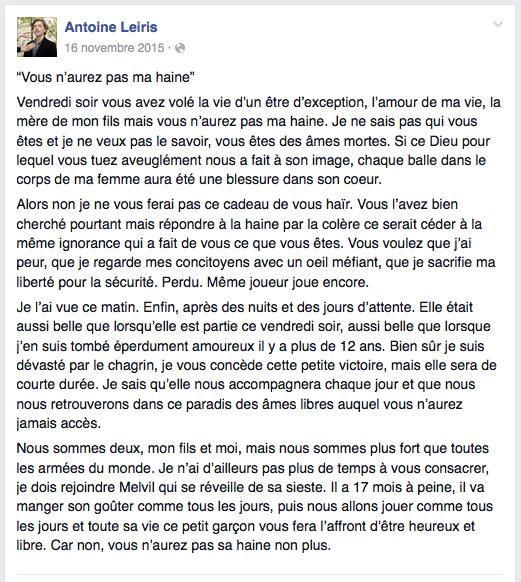 La lettre publiée sur Facebook le 16 novembre 2015.
